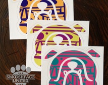 Fun English bulldog decals - Bulldogs in vibrant zig zag pattern! Dog vinyl stickers - #bullylove