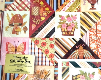 Funky Fall Mushrooms Gift Wrap Set, Floral Autumn Wrapping Paper, Striped Retro Paper, Mushrooms Birds Flowers Butterflies Stripes 60's 70's
