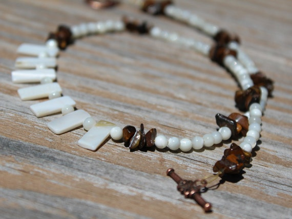 Beach Jewelry, Mother of Pearl, Brown and White Minimalist Short Necklace