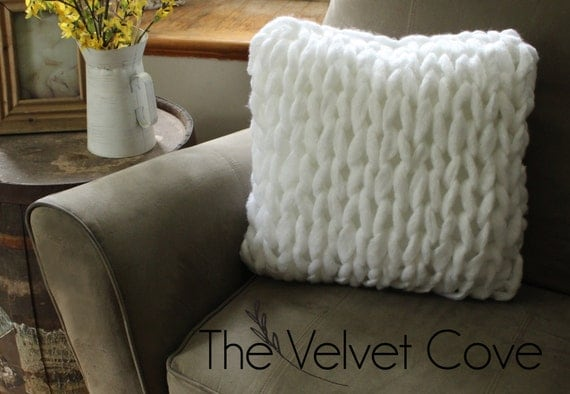 Chunky Knit Pillow Pattern : Items similar to SALE, Chunky Knit Pillow, Giant Knit Pillow The Velvet Cov...