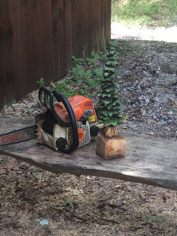 Tree chainsaw carving wood gift christmas by