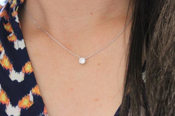 tiny cz diamond necklace layered necklace choker dainty. Black Bedroom Furniture Sets. Home Design Ideas