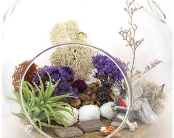 My Fairy Garden Terrarium™ Lavender Surprise ~ Christmas Ornament 30th Birthday Gift For Mom Sister Friend ~ Plants Housewarming Gift Kit