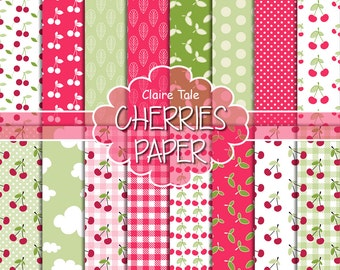 """Cherries digital paper: """"CHERRIES"""" paper pack with cherries pattern, polka dots, gingham, leaves in red and green for scrapbooking"""