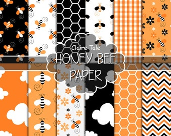 """Bee digital paper: """"HONEY BEE"""" paper pack with honey bee / bumble bee, honeycomb, clouds, flowers, chevrons and gingham in orange and black"""