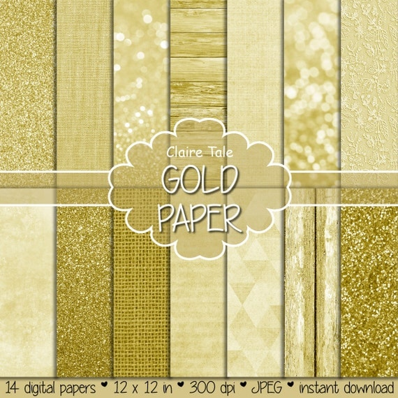 "Gold paper: ""GOLD DIGITAL PAPER"" with gold textures, gold glitter, linen, burlap, gold lace, watercolor, gold wood photo backdrop"