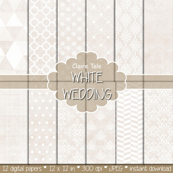 """Wedding digital paper: """"ANTIQUE WHITE WEDDING"""" with damask, crosshatch, quatrefoil, flowers, lace, polka dots, triangles, stripes patterns"""