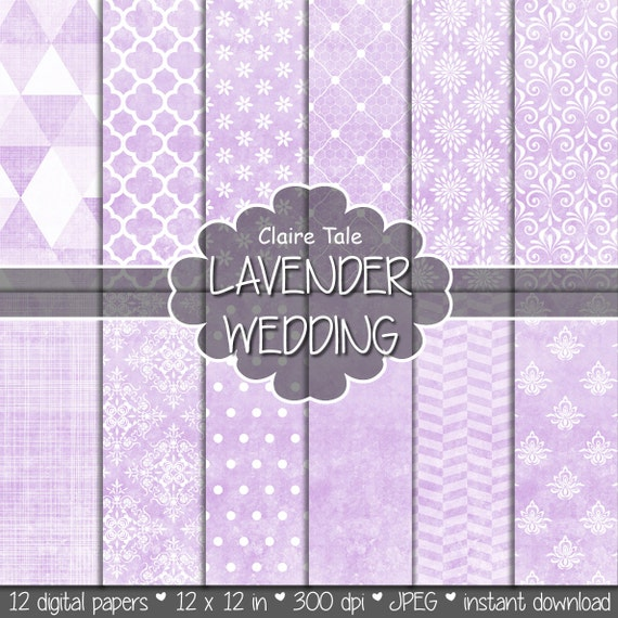 "Lavender digital paper: ""LAVENDER WEDDING"" with lavender damask, crosshatch, quatrefoil, flowers, lace, polka dots, triangles, stripes"