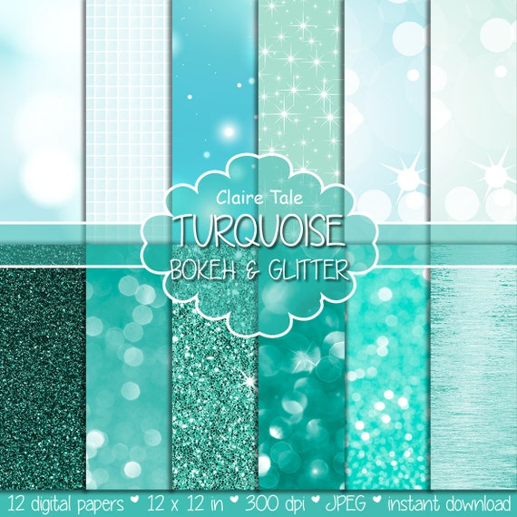"""Turquoise digital paper: """"TURQUOISE BOKEH & GLITTER"""" with turquoise glitter and bokeh background for photographers and scrapbooking"""