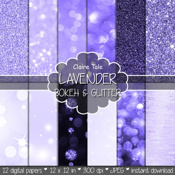 "Lavender digital paper: ""LAVENDER BOKEH & GLITTER"" with lavender glitter and lavender bokeh background for photographers and scrapbooking"