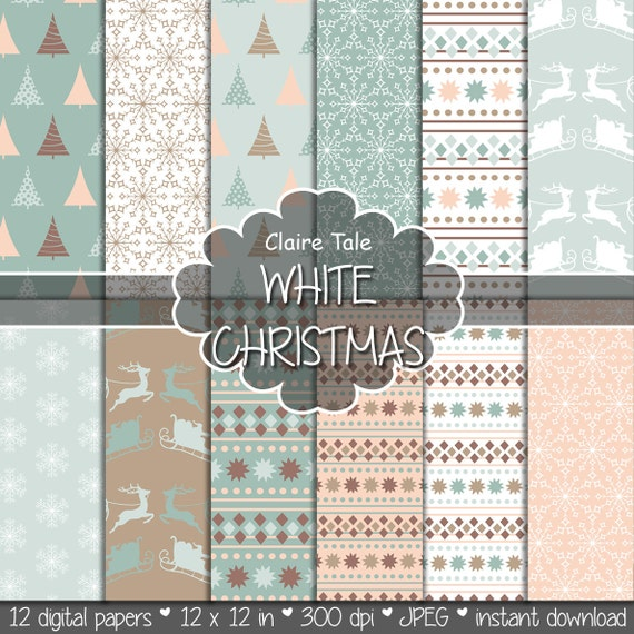 "Christmas digital paper: ""WHITE CHRISTMAS"" christmas backgrounds with deers, santa, snowflakes, christmas trees"