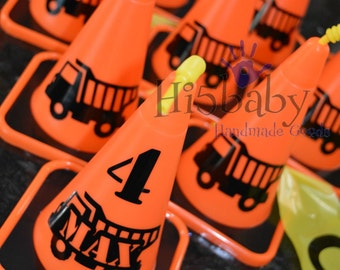construction cone cups/ cone cups/ orange cone cups/ construction party favors/ construction party/ under construction party/ dump truck