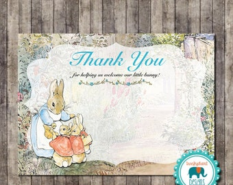 INSTANT DOWNLOAD- Blue Peter Rabbit Thank You Card for Baby Shower