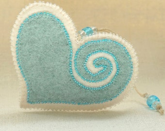 Beaded Mint Blue and White Wool Felt Heart Ornament #3, Mother's Day Heart, Wedding Favor, Proposal Idea, Anniversary Gift *Ready to ship