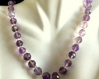 Amethyst Antique/Vintage Faceted  with Handcut Crystal Spacers   18 Inche Necklace