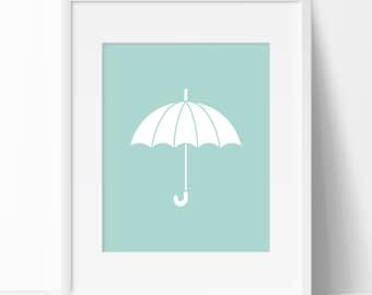 Seafoam Umbrella Print, Umbrella Printable, Umbrella Wall Art, Seafoam Art Print, Nursery Printable, Printable Art, Seafoam Nursery Print