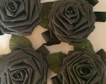Lot of 4 Large Black/Dark Gray Folded Ribbon Roses with Greenery