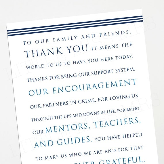 wedding reception thank you note (blues, navy) - Instant Download - Personalize with your names