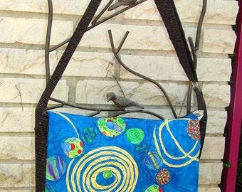 Messenger Bag - Appliqued Blue Batik