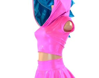 Neon Pink Holographic Dragon Hoodie Crop with Peacock Blue Spikes and Hood Liner & Matching Rave Mini Skirt 151292