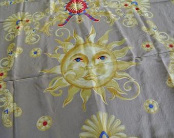 Jaeger Scarf Silk Scarf Wrap Sun Face Made in Italy Designer Scarf
