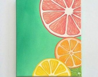 Colorful Wall art, Bright wall art, Fruit painting, citrus art, Kitchen decor, 8 x 10, original acrylic painting