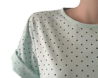 Long Seafoam Polka Dot 80s T-Shirt Size M E D I U M
