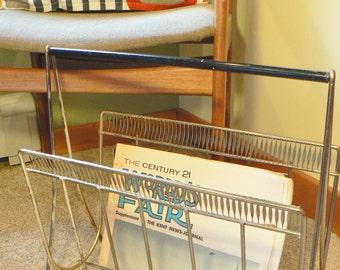 Vintage Magazine rack, mid century wire magazine rack, Mad Men, Eames era