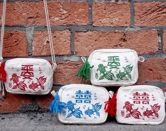 yat dau hou, coins bag,coins purse,messenger bags,money bag,zipper purse,double happiness bag,double fish purse
