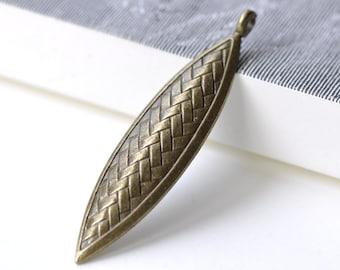 Antique Bronze Marquise Leaf Charms Pendants Set of 8 A8039
