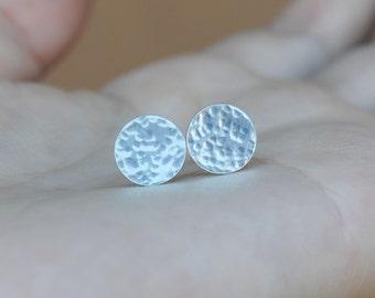 Hammered Disc Earrings - Hammered Stud Earrings - Disc Stud Earrings