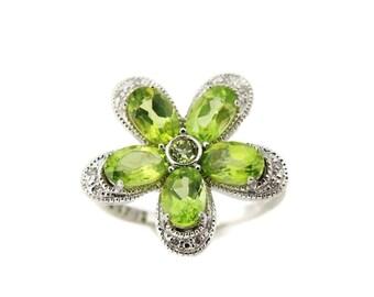 Peridot Flower Diamond Ring August Birthstone Sterling Silver