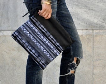 Ethnic boho foldover leather clutch, black and white