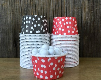 Red and Black Paper Snack Cups - Set of 48 - Polka Dot Candy Cup - Card Party - Mini Ice Cream Cup - Paper Nut Cup - Same Day Shipping