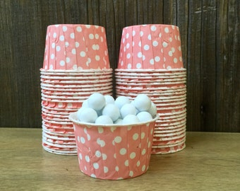 48 Light Coral Polka Dot Paper Candy Cups--Coral Nut Cups--Birthday Party--Wedding, Baby Shower--Portion Cup
