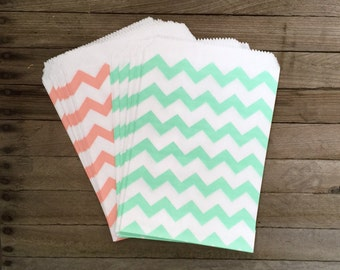 48 Mint and Peach--Favor Bag--Stripe Favor Sacks--Candy Favor Bag--Chevron Goodie Bag--Stripe Party Sack--Birthday Treat Sacks