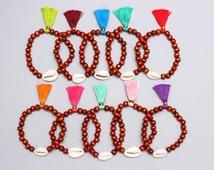 Wood Bead Tassel Bracelet - Boho Bracelet - Shell Bracelet - Beach Bracelet - Seashell Bracelet - Wholesale Bracelets - Wood Bead Bracelet