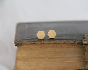 Hexagon stud earrings, Small Brass Hexagon Earrings, Minimalist Dainty Gold Jewelry, Custom Bridal Bridesmaid Gift, Simple Modern Jewelry