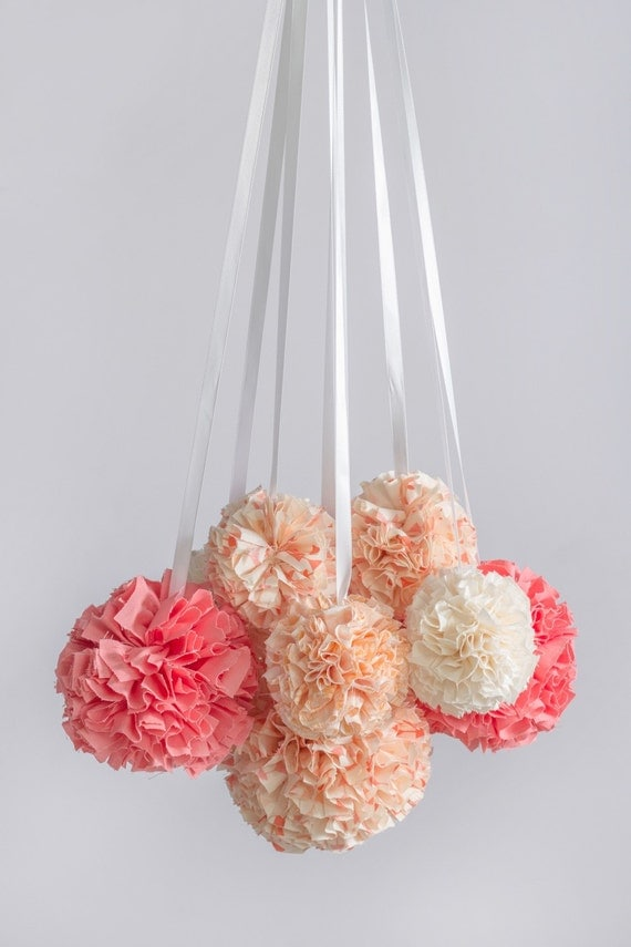 Hanging pom pom mobile nursery mobile crib mobile for Hanging pom poms from ceiling