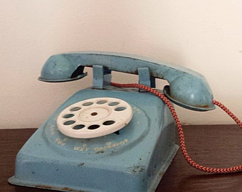 Vintage Blue Metal Toy Telephone *FREE SHIPPING *