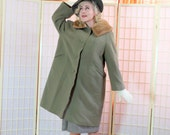 Pale Olive Martini Green Coat . 50's Vintage Swanky Swing style . Fab Wide Toast Brown Mink Collar . EINIGER label .  Green Goddess Glow .
