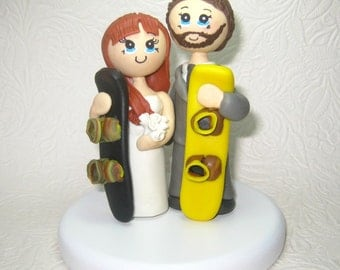 Custom wedding cake topper, Personalized wedding cake topper, Snowboard cake topper