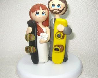 Custom wedding cake topper, Personalized wedding cake topper, Snowboard cake topper