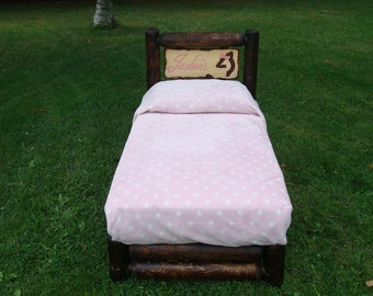 Toddler youth log bed hand carved girls custom with doe and name.