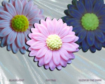 3D Glow in the dark Pale Pink Daisy Pendant Handmade in the USA EyeGloArts Glow and blacklight polymer clay millefiore