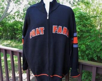 Phat Farm Cardigan Sweater, Zippered Cardigan Sweater, Vintage Letterman's Sweater, Mens Black & Gray Sweater, Mens Size XXL