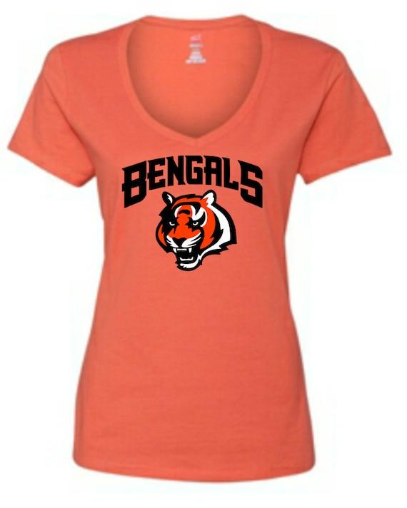 Cincinnati bengals women 39 s v neck t shirt by block451 on etsy for Custom t shirts cincinnati