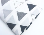 MADE TO ORDER -  Fitted Cot / Crib sheet Triangles  Grey Black and White Geometric