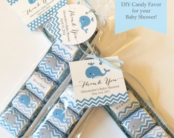 EDITABLE TEXT Hershey Nugget Labels / Blue Whale Baby Shower  / Nugget Wrapper / Candy Wrapper / Avery Label / Printable Instant Download