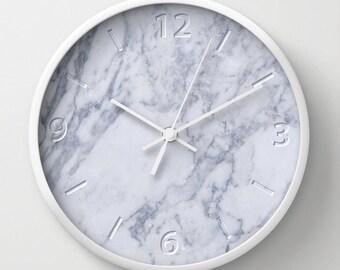 White marble effect wall clock, architect clock, interior design, minimal home decoration, white clock, office clocks, minimalist design